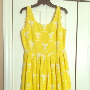 Yellow floral fit and flare dress